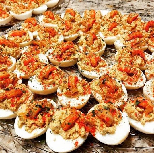 Crawfish Deviled Eggs from Refuge HTX's Super Bowl Menu